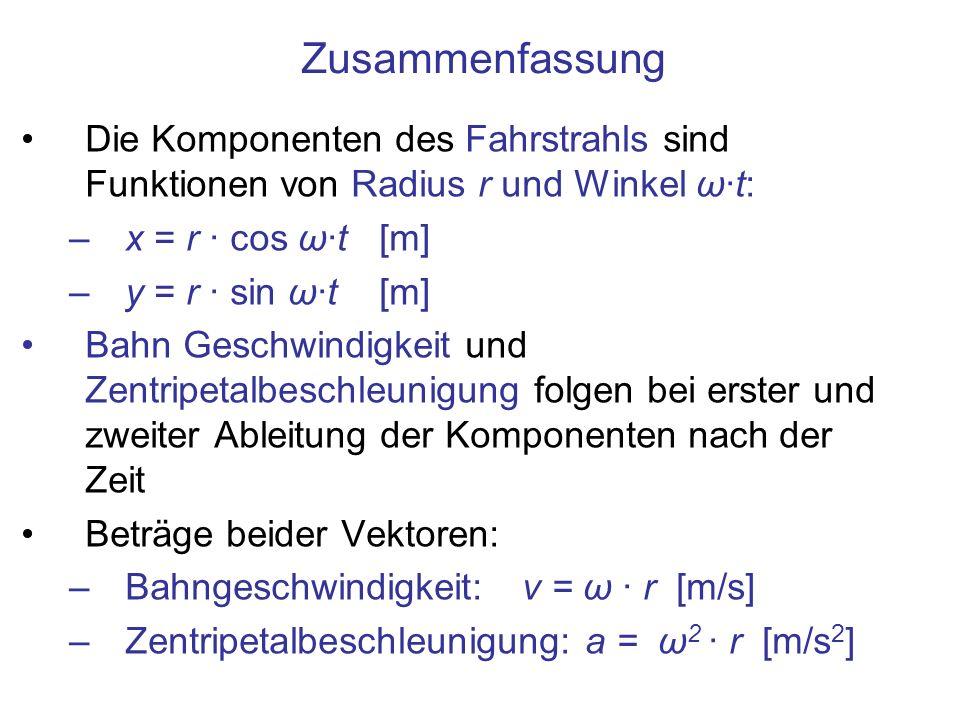 Zusammenfassung Die Komponenten des Fahrstrahls sind Funktionen von Radius r und Winkel ω·t: x = r · cos ω·t [m]